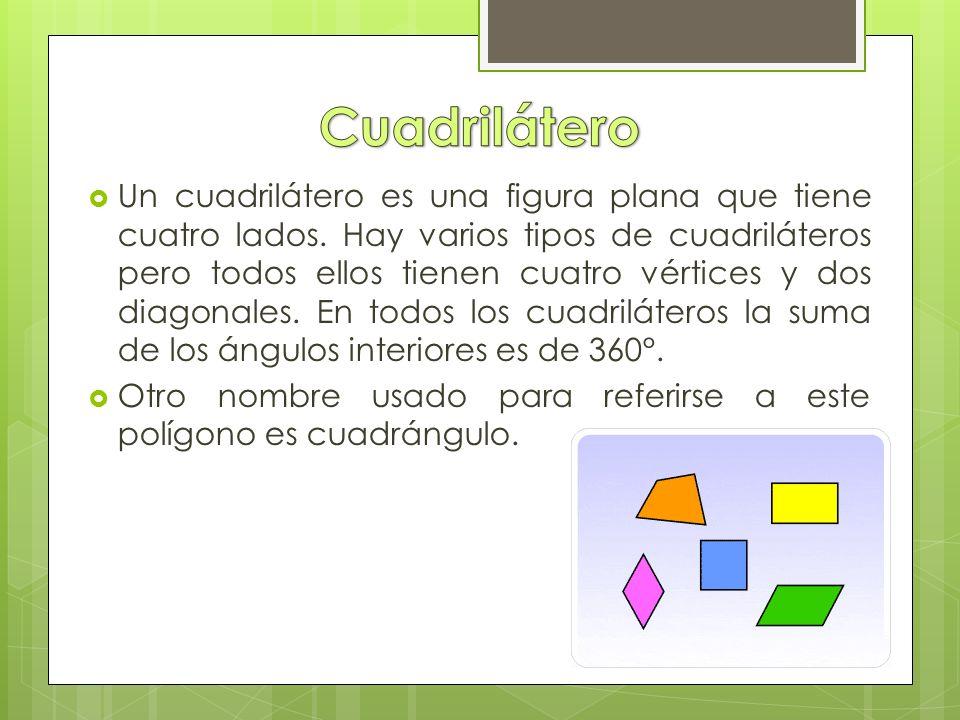  Un cuadrilátero es una figura plana que tiene cuatro lados.