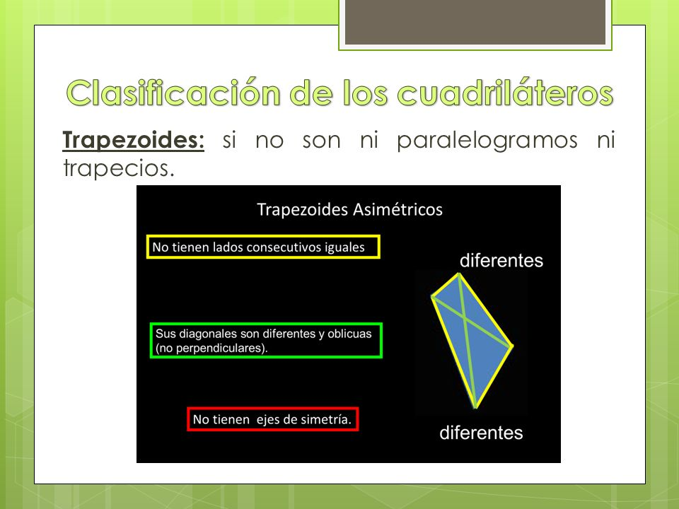 Trapezoides: si no son ni paralelogramos ni trapecios.