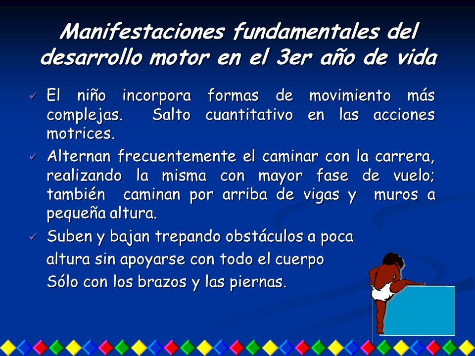Manifestaciones fundamentales del desarrollo motor en el 3er año de vida El niño incorpora formas de movimiento más complejas. Salto cuantitativo en l