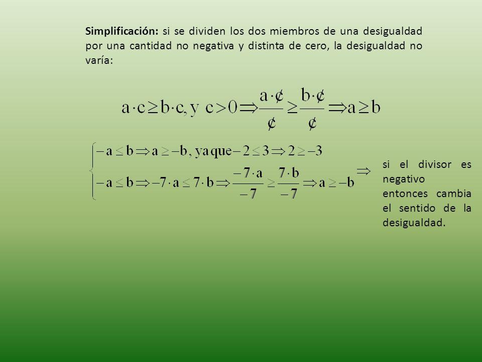 Simplificación: si se dividen los dos miembros de una desigualdad por una cantidad no negativa y distinta de cero, la desigualdad no varía: si el divisor es negativo entonces cambia el sentido de la desigualdad.