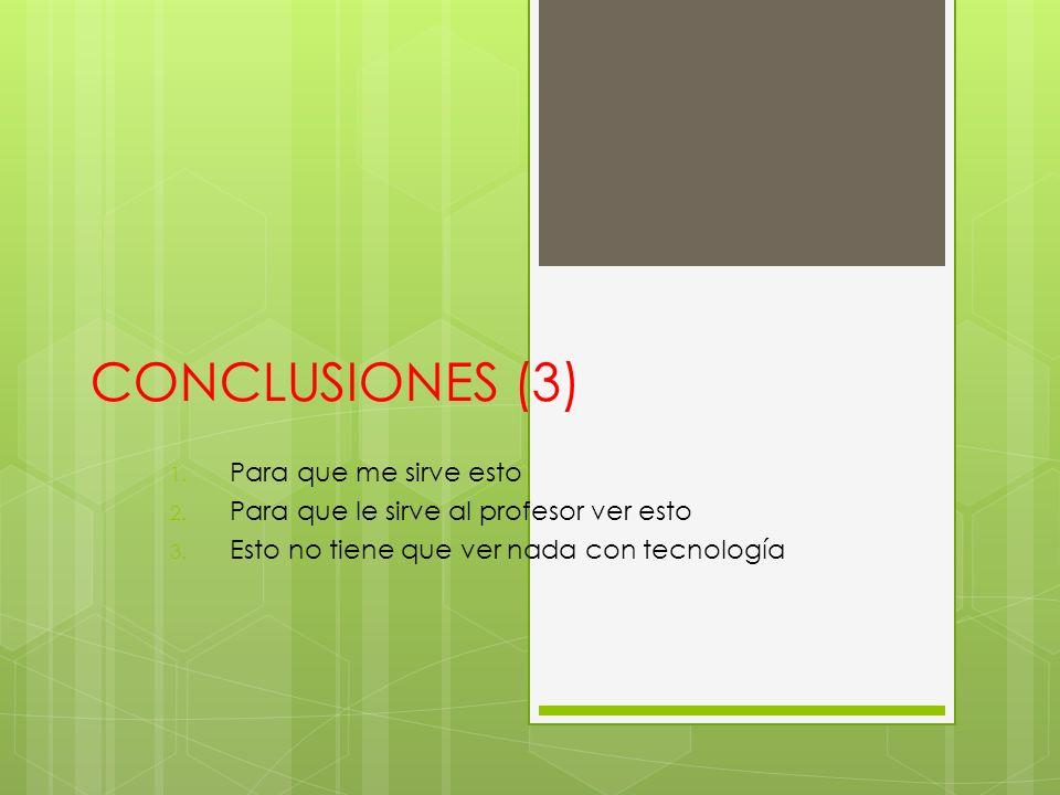 CONCLUSIONES (3) 1. Para que me sirve esto 2. Para que le sirve al profesor ver esto 3.