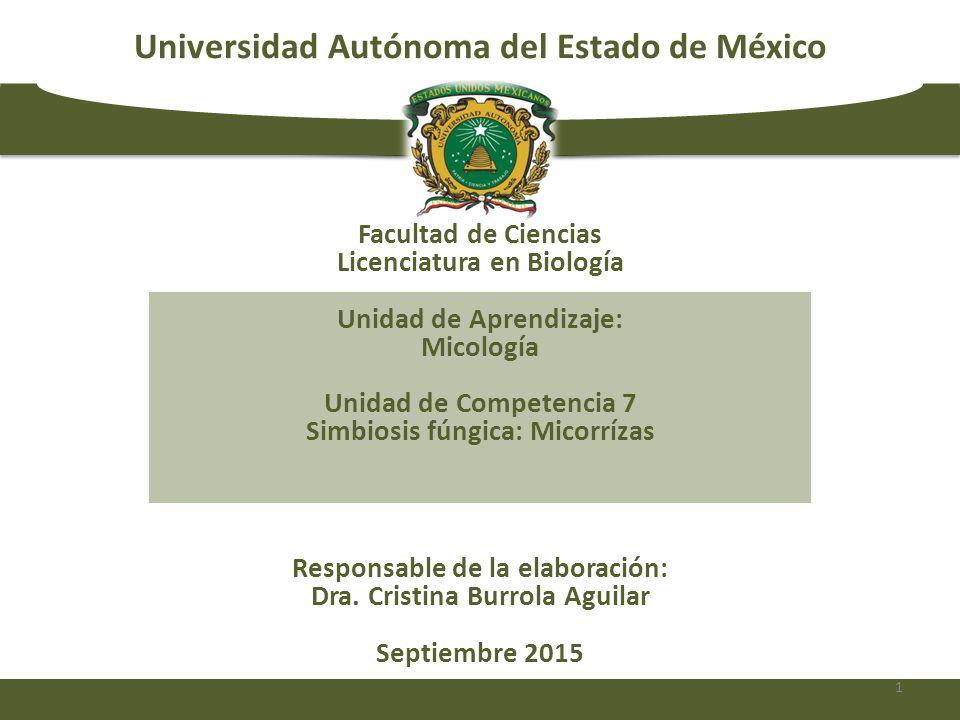Universidad Autónoma del Estado de México Responsable de la elaboración: Dra. Cristina Burrola Aguilar Septiembre 2015 Facultad de Ciencias Licenciatu