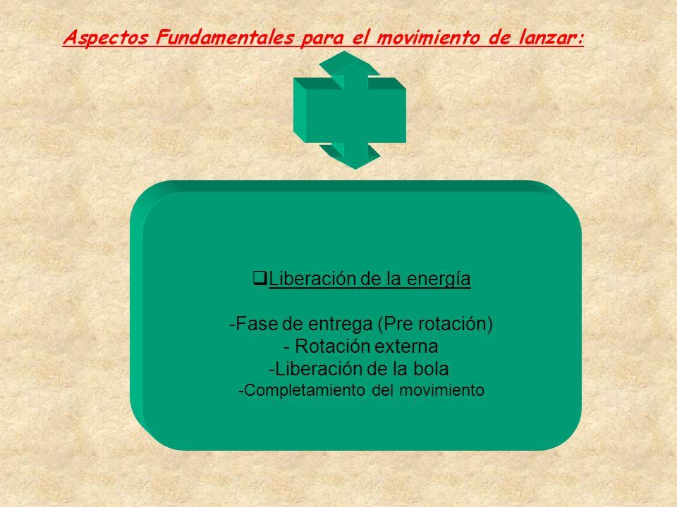  Liberación de la energía -Fase de entrega (Pre rotación) - Rotación externa -Liberación de la bola -Completamiento del movimiento