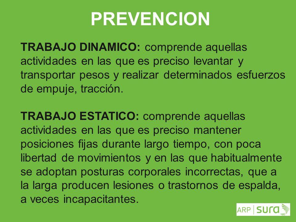 ARP SURA PREVENCION TRABAJO DINAMICO: comprende aquellas actividades en las que es preciso levantar y transportar pesos y realizar determinados esfuer