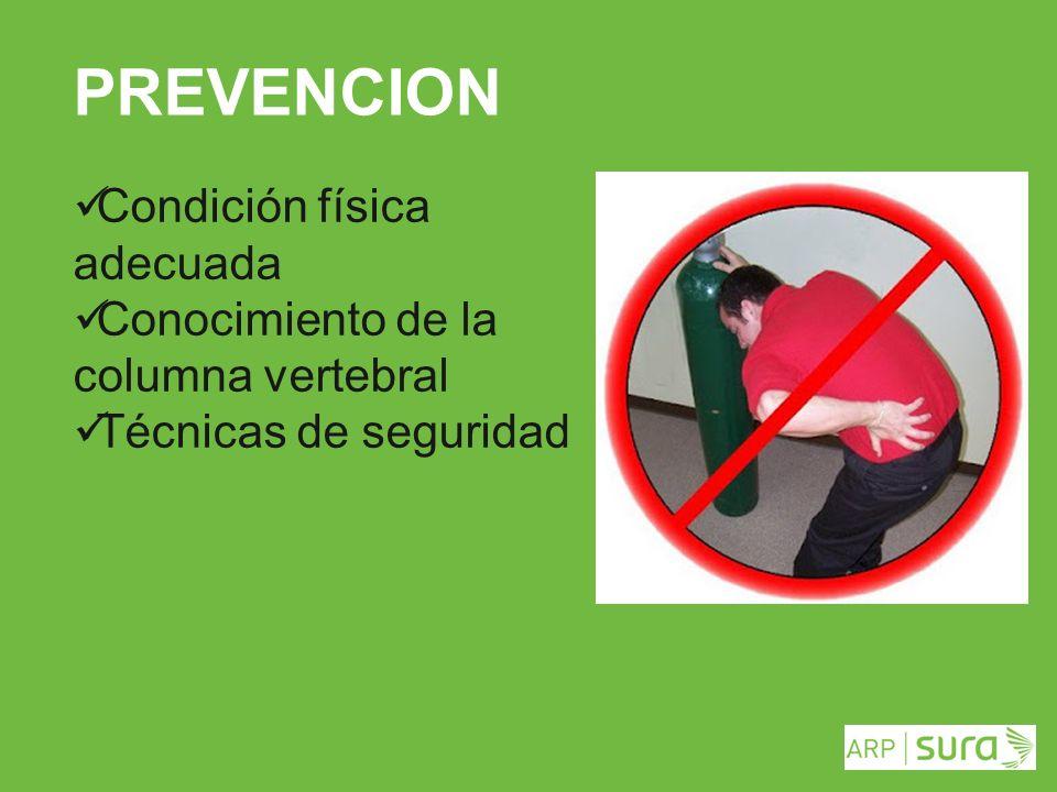 ARP SURA PREVENCION Condición física adecuada Conocimiento de la columna vertebral Técnicas de seguridad