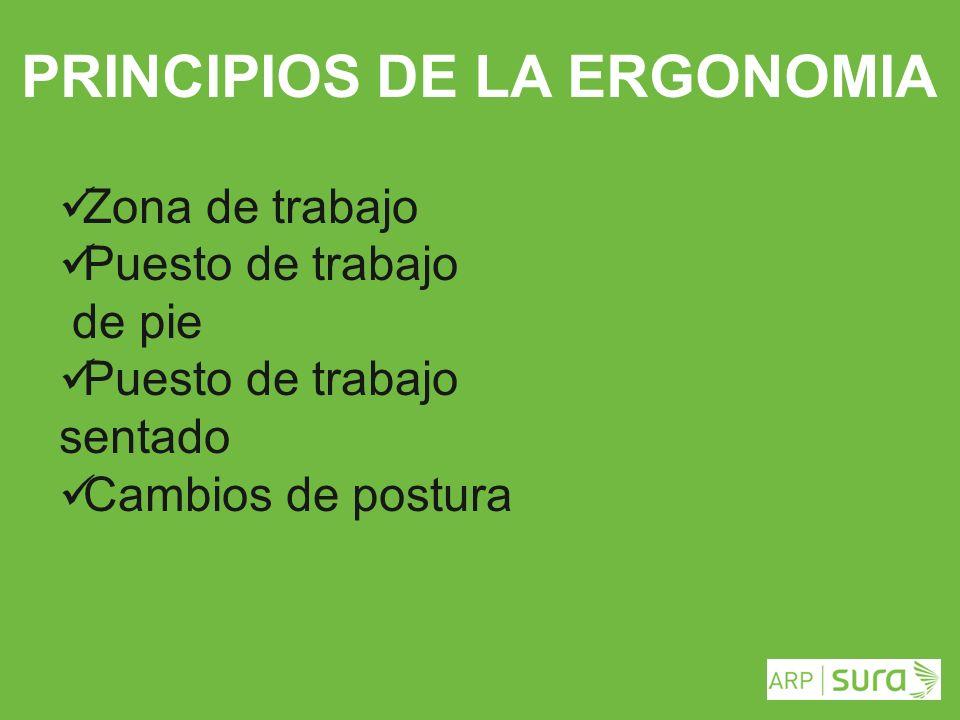 ARP SURA PRINCIPIOS DE LA ERGONOMIA Zona de trabajo Puesto de trabajo de pie Puesto de trabajo sentado Cambios de postura