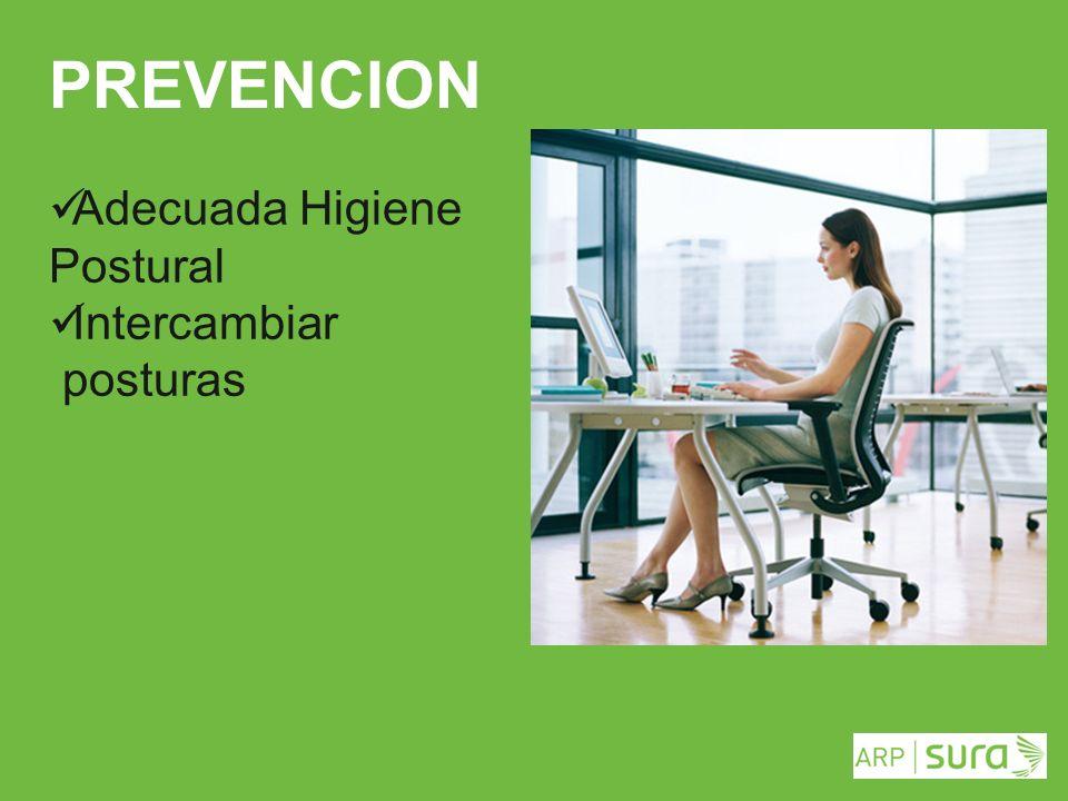 ARP SURA PREVENCION Adecuada Higiene Postural Intercambiar posturas