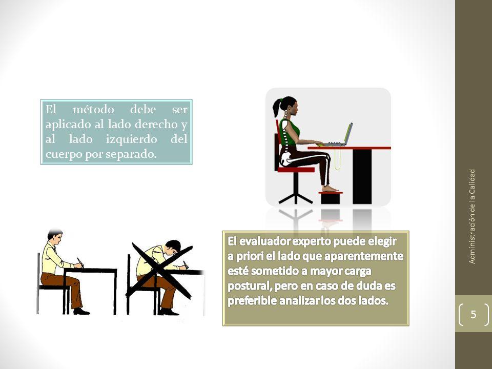 Administración de la Calidad 5 El método debe ser aplicado al lado derecho y al lado izquierdo del cuerpo por separado.