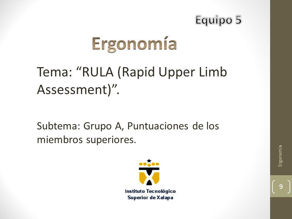 Ergonomía 9 Tema: RULA (Rapid Upper Limb Assessment) .