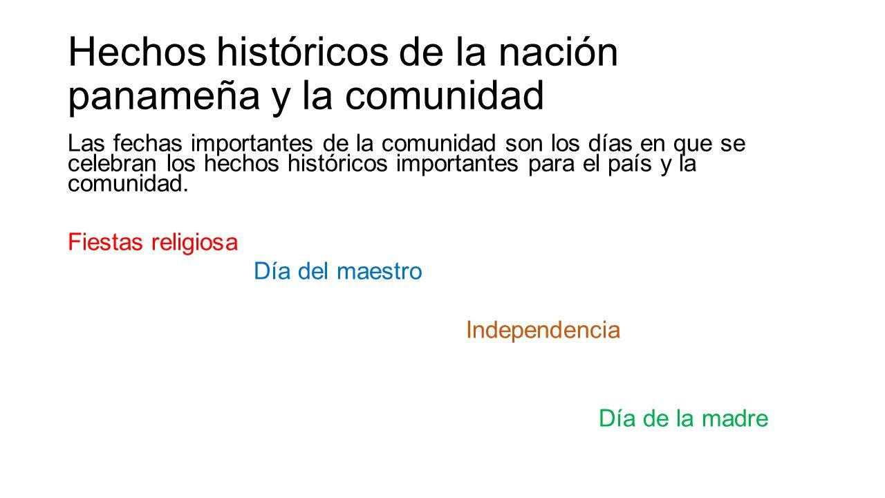 Hechos históricos de la nación panameña y la comunidad Las fechas importantes de la comunidad son los días en que se celebran los hechos históricos importantes para el país y la comunidad.