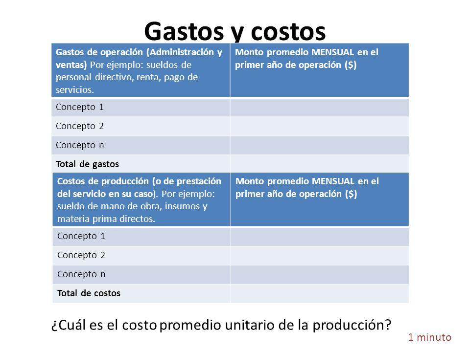 Gastos y costos 1 minuto Gastos de operación (Administración y ventas) Por ejemplo: sueldos de personal directivo, renta, pago de servicios. Monto pro