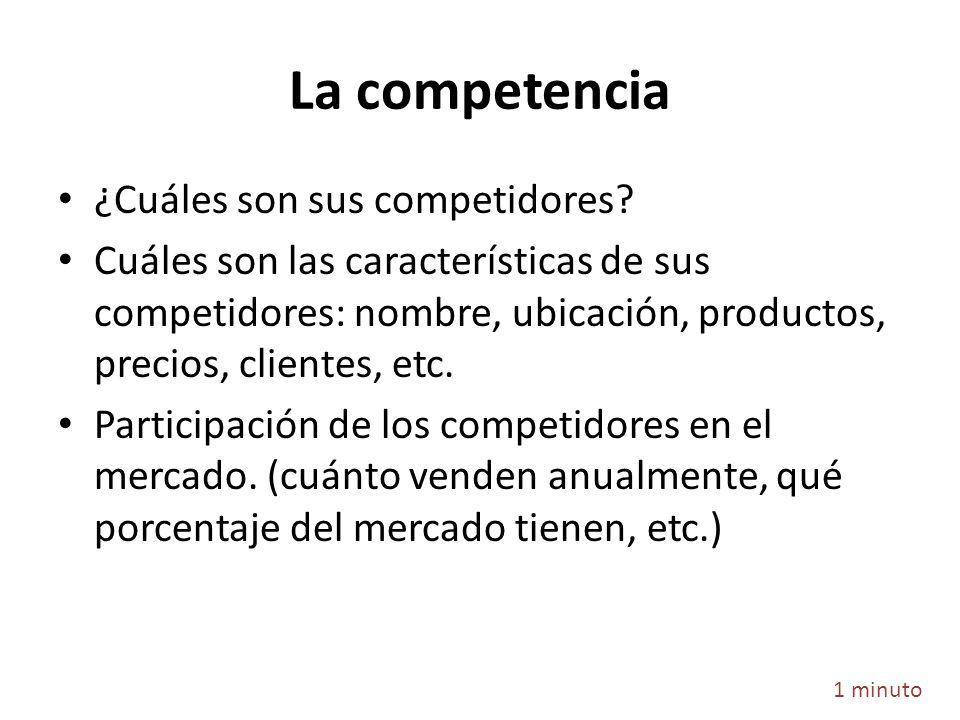 La competencia ¿Cuáles son sus competidores? Cuáles son las características de sus competidores: nombre, ubicación, productos, precios, clientes, etc.