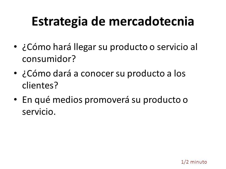 Estrategia de mercadotecnia ¿Cómo hará llegar su producto o servicio al consumidor? ¿Cómo dará a conocer su producto a los clientes? En qué medios pro