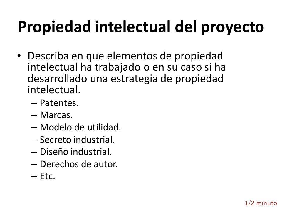 Propiedad intelectual del proyecto Describa en que elementos de propiedad intelectual ha trabajado o en su caso si ha desarrollado una estrategia de p