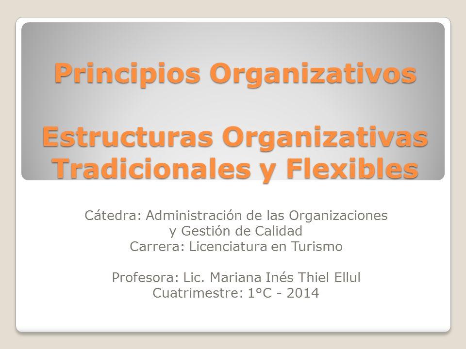 Principios Organizativos Los principios organizativos son un conjunto de variables que definen las relaciones existentes entre las distintas personas, niveles y unidades organizativas, así como la forma de actuar de todos ellos en el desarrollo de la actividad de la empresa hotelera.