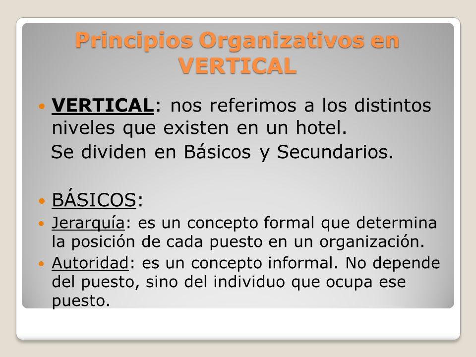 Principios Organizativos en VERTICAL SECUNDARIOS: Unidad de dirección en vertical: indica que todas las decisiones y acciones llevadas a cabo en un hotel deben orientarse hacia la consecución de su misión.