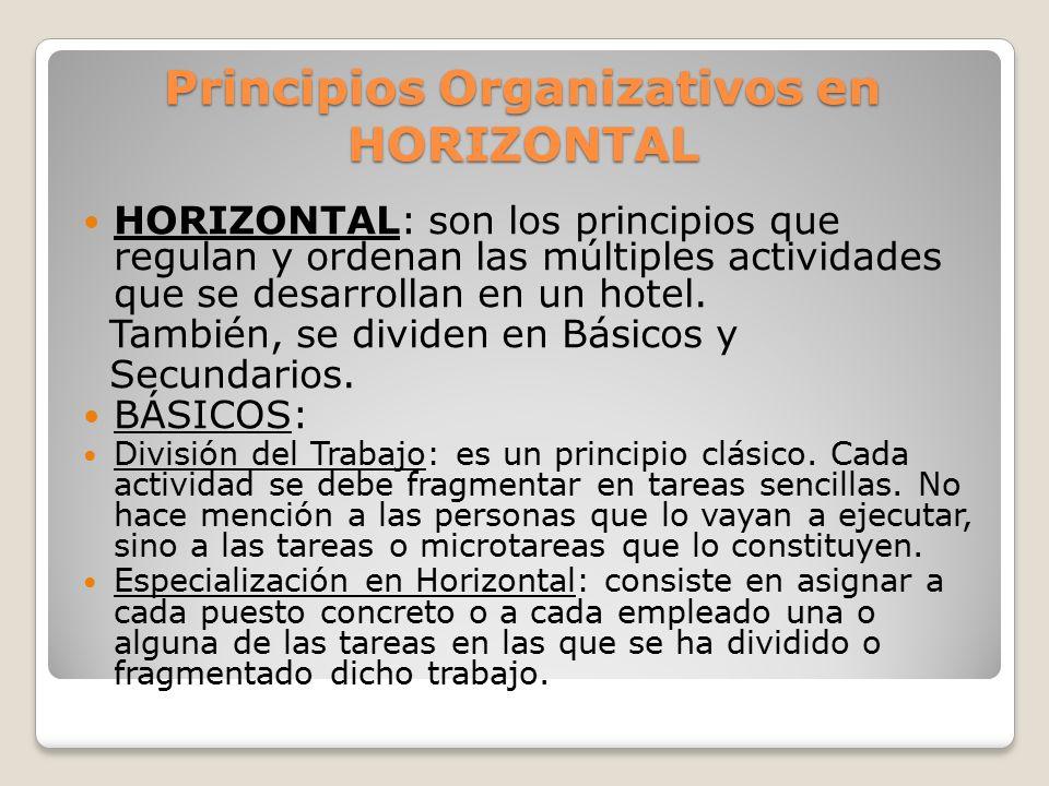 Principios Organizativos en HORIZONTAL BÁSICOS: Coordinación: es el principio por el cual se acoplan, conectan y ordenan los recursos disponibles de cara a la consecución de un objetivo en común.