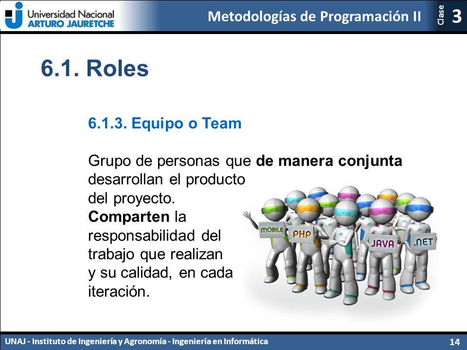 Metodologías de Programación II UNAJ - Instituto de Ingeniería y Agronomía - Ingeniería en Informática 14 3 Clase 6.1.
