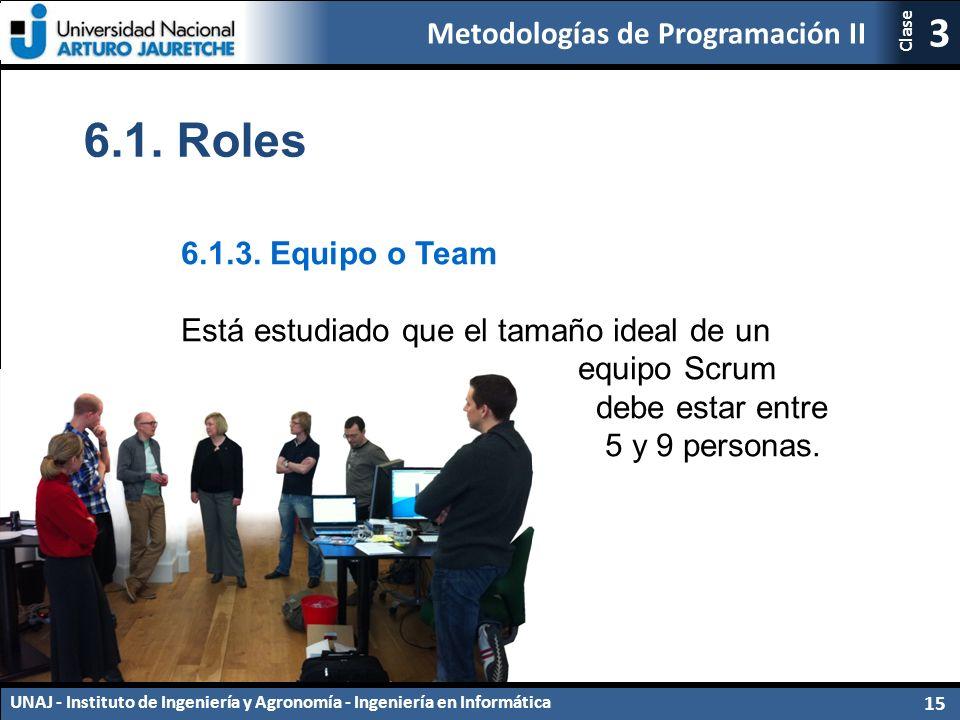Metodologías de Programación II UNAJ - Instituto de Ingeniería y Agronomía - Ingeniería en Informática 15 3 Clase 6.1.