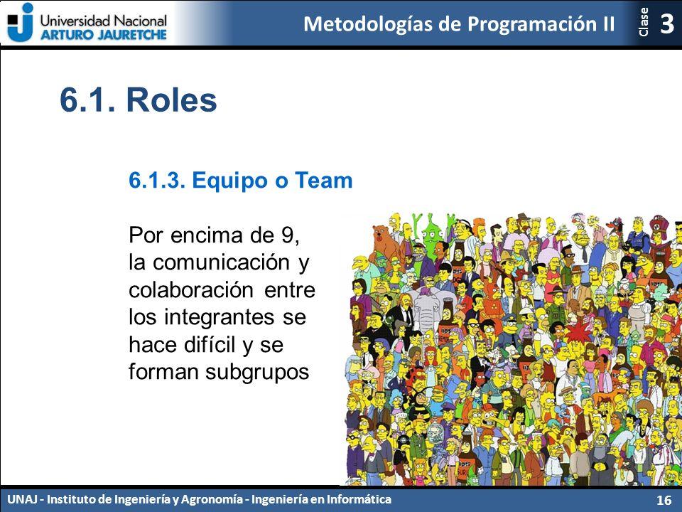 Metodologías de Programación II UNAJ - Instituto de Ingeniería y Agronomía - Ingeniería en Informática 16 3 Clase 6.1.