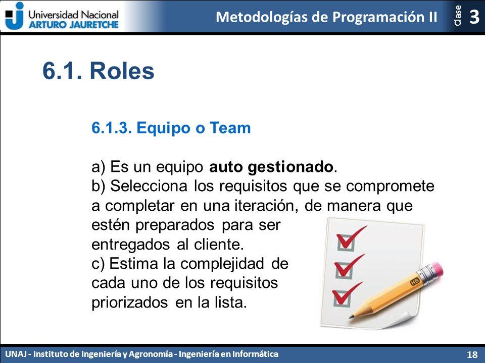 Metodologías de Programación II UNAJ - Instituto de Ingeniería y Agronomía - Ingeniería en Informática 18 3 Clase 6.1.
