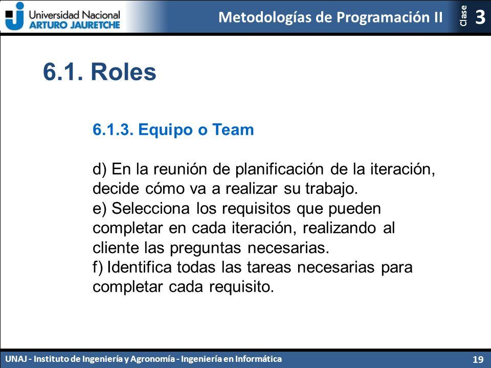 Metodologías de Programación II UNAJ - Instituto de Ingeniería y Agronomía - Ingeniería en Informática 19 3 Clase 6.1.