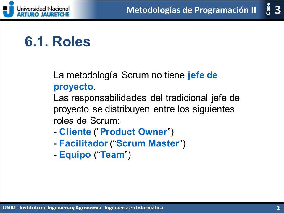 Metodologías de Programación II UNAJ - Instituto de Ingeniería y Agronomía - Ingeniería en Informática 2 3 Clase 6.1.