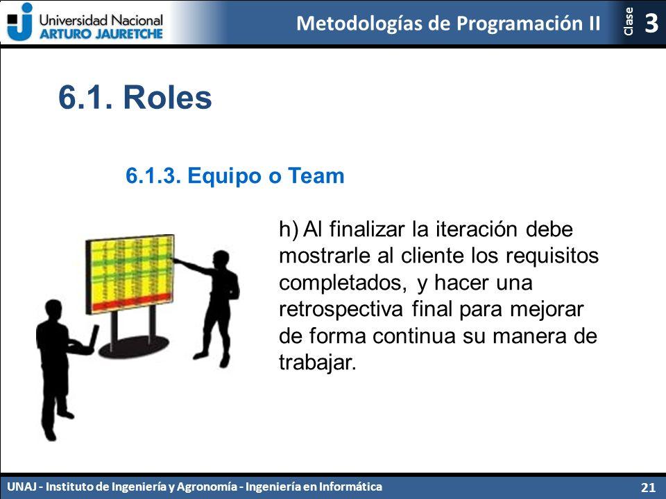 Metodologías de Programación II UNAJ - Instituto de Ingeniería y Agronomía - Ingeniería en Informática 21 3 Clase 6.1.