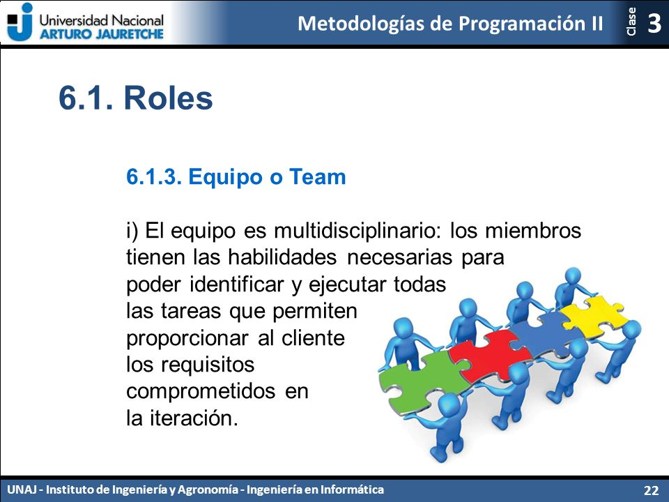Metodologías de Programación II UNAJ - Instituto de Ingeniería y Agronomía - Ingeniería en Informática 22 3 Clase 6.1.
