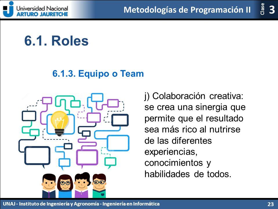 Metodologías de Programación II UNAJ - Instituto de Ingeniería y Agronomía - Ingeniería en Informática 23 3 Clase 6.1.