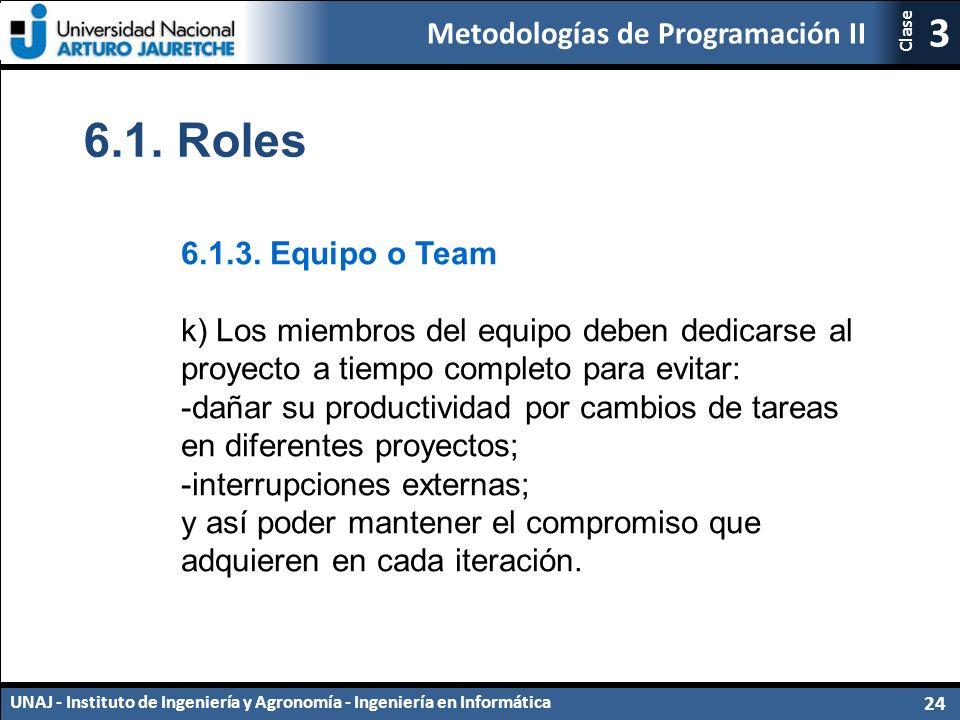 Metodologías de Programación II UNAJ - Instituto de Ingeniería y Agronomía - Ingeniería en Informática 24 3 Clase 6.1.