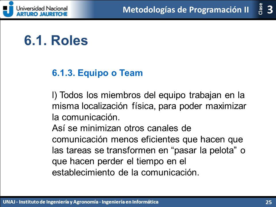 Metodologías de Programación II UNAJ - Instituto de Ingeniería y Agronomía - Ingeniería en Informática 25 3 Clase 6.1.