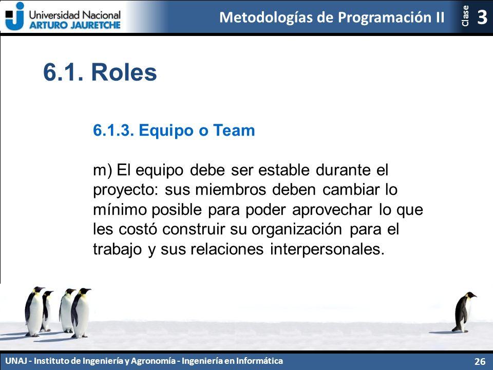 Metodologías de Programación II UNAJ - Instituto de Ingeniería y Agronomía - Ingeniería en Informática 26 3 Clase 6.1.