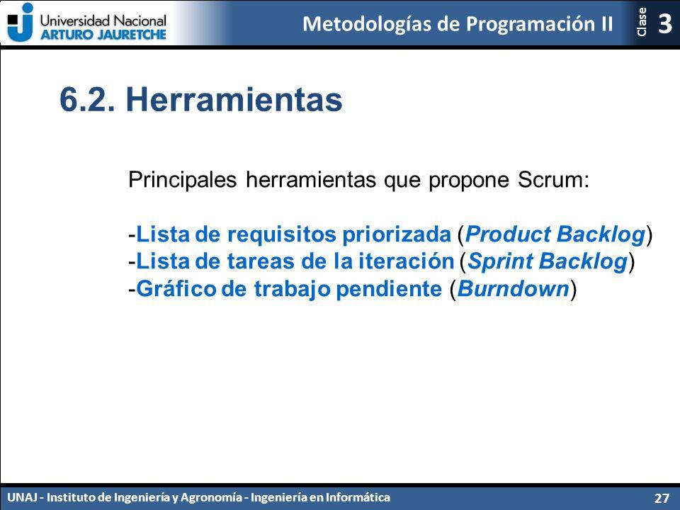 Metodologías de Programación II UNAJ - Instituto de Ingeniería y Agronomía - Ingeniería en Informática 27 3 Clase 6.2.