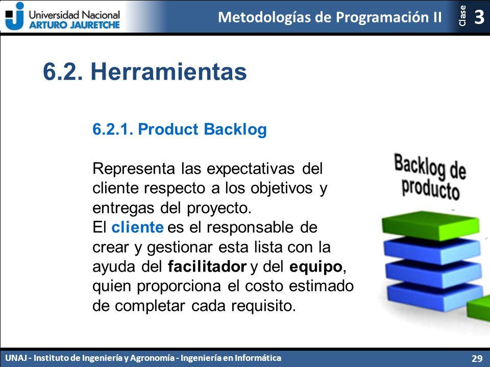 Metodologías de Programación II UNAJ - Instituto de Ingeniería y Agronomía - Ingeniería en Informática 29 3 Clase 6.2.
