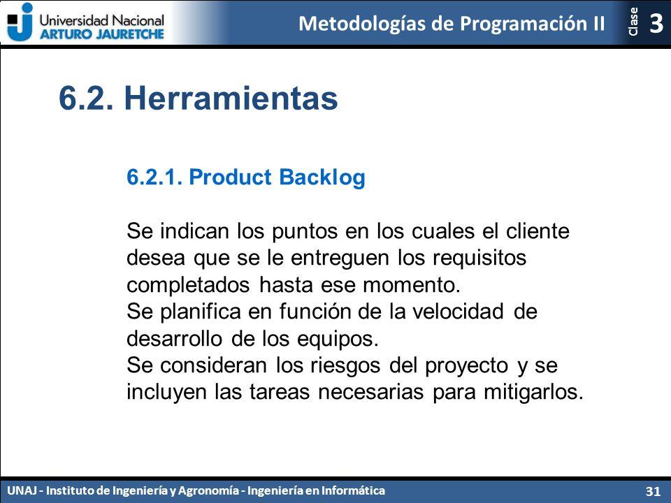 Metodologías de Programación II UNAJ - Instituto de Ingeniería y Agronomía - Ingeniería en Informática 31 3 Clase 6.2.