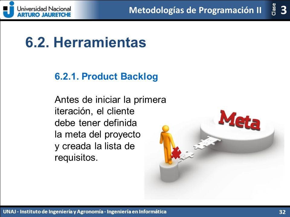 Metodologías de Programación II UNAJ - Instituto de Ingeniería y Agronomía - Ingeniería en Informática 32 3 Clase 6.2.