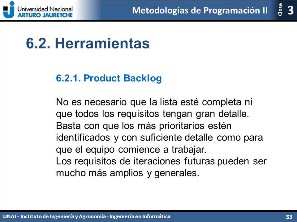 Metodologías de Programación II UNAJ - Instituto de Ingeniería y Agronomía - Ingeniería en Informática 33 3 Clase 6.2.