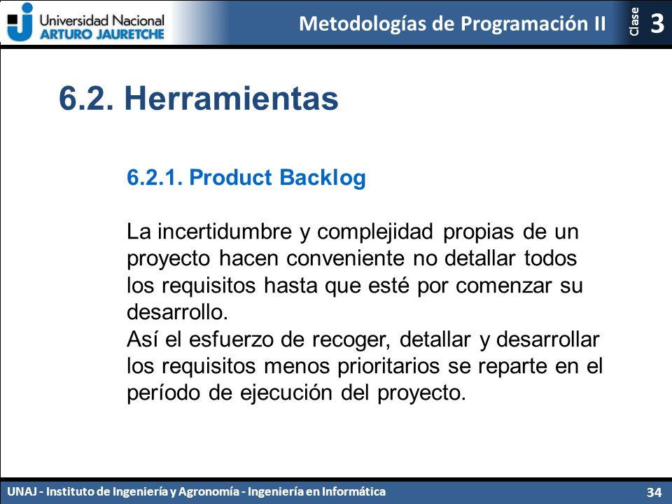 Metodologías de Programación II UNAJ - Instituto de Ingeniería y Agronomía - Ingeniería en Informática 34 3 Clase 6.2.