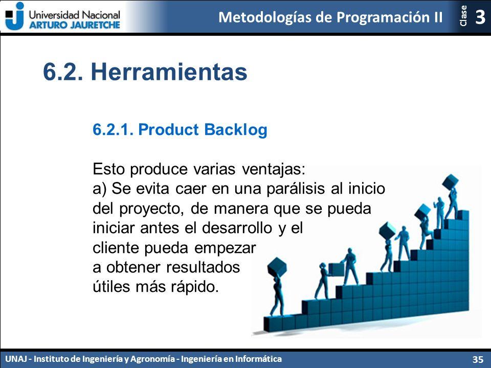 Metodologías de Programación II UNAJ - Instituto de Ingeniería y Agronomía - Ingeniería en Informática 35 3 Clase 6.2.
