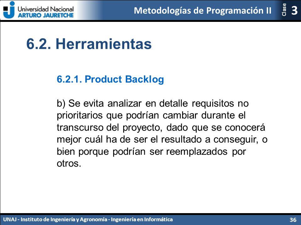 Metodologías de Programación II UNAJ - Instituto de Ingeniería y Agronomía - Ingeniería en Informática 36 3 Clase 6.2.