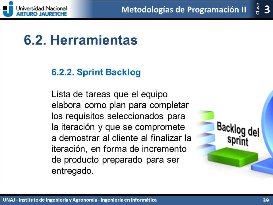 Metodologías de Programación II UNAJ - Instituto de Ingeniería y Agronomía - Ingeniería en Informática 39 3 Clase 6.2.