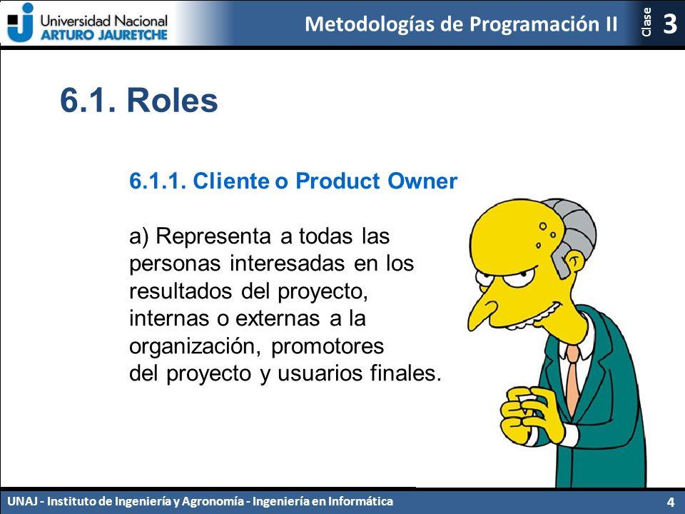 Metodologías de Programación II UNAJ - Instituto de Ingeniería y Agronomía - Ingeniería en Informática 4 3 Clase 6.1.