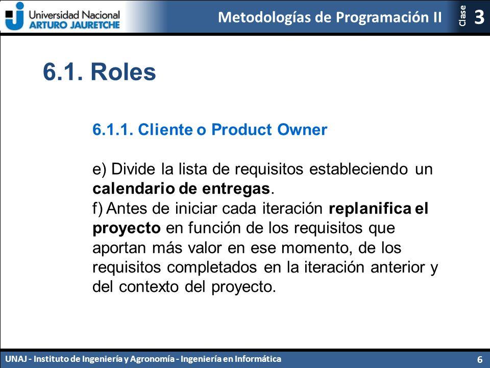 Metodologías de Programación II UNAJ - Instituto de Ingeniería y Agronomía - Ingeniería en Informática 6 3 Clase 6.1.