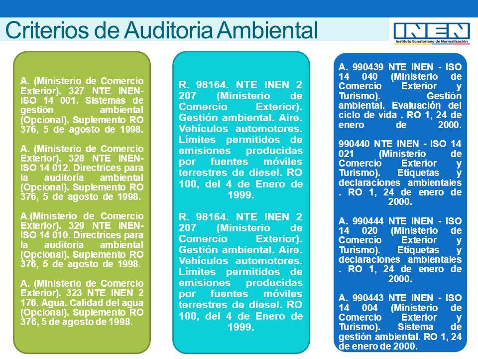 Criterios de Auditoria Ambiental A. (Ministerio de Comercio Exterior).