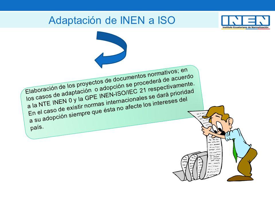 Elaboración de los proyectos de documentos normativos; en los casos de adaptación o adopción se procederá de acuerdo a la NTE INEN 0 y la GPE INEN-ISO/IEC 21 respectivamente.