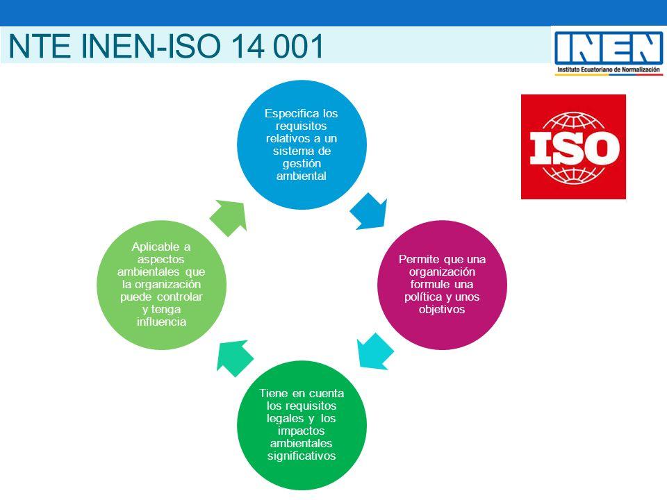 NTE INEN-ISO 14 001 Especifica los requisitos relativos a un sistema de gestión ambiental Permite que una organización formule una política y unos objetivos Tiene en cuenta los requisitos legales y los impactos ambientales significativos Aplicable a aspectos ambientales que la organización puede controlar y tenga influencia