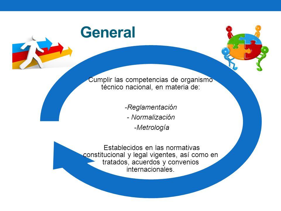 Objetivo General Cumplir las competencias de organismo técnico nacional, en materia de: -Reglamentación - Normalización -Metrología Establecidos en las normativas constitucional y legal vigentes, así como en tratados, acuerdos y convenios internacionales.