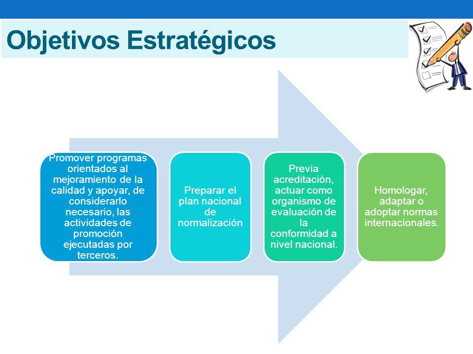 Objetivos Estratégicos Promover programas orientados al mejoramiento de la calidad y apoyar, de considerarlo necesario, las actividades de promoción ejecutadas por terceros.