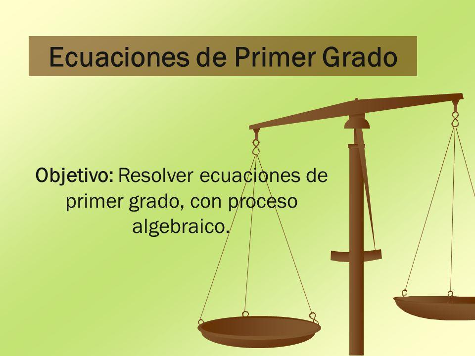 Ecuaciones de Primer Grado Objetivo: Resolver ecuaciones de primer grado, con proceso algebraico.
